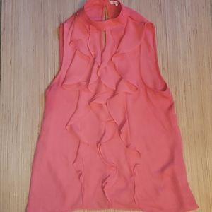 Parker coral print xs ruffled sleeveless top